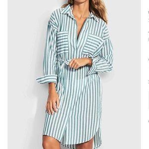 NWT Seafolly green and white stripe robe dress